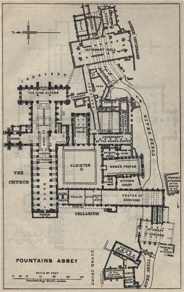 Associate Product Fountains Abbey ground plan. Yorkshire 1939 old vintage map chart