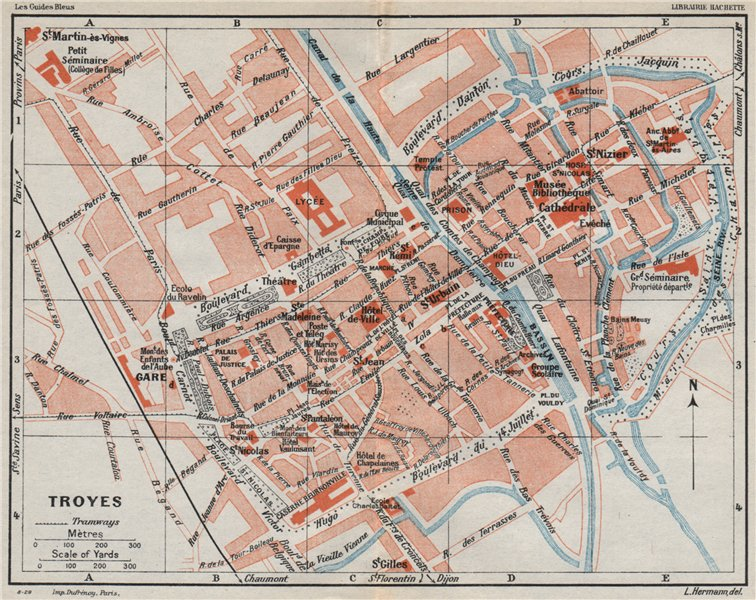 Associate Product TROYES. Vintage town city ville map plan carte. Aube 1930 old vintage