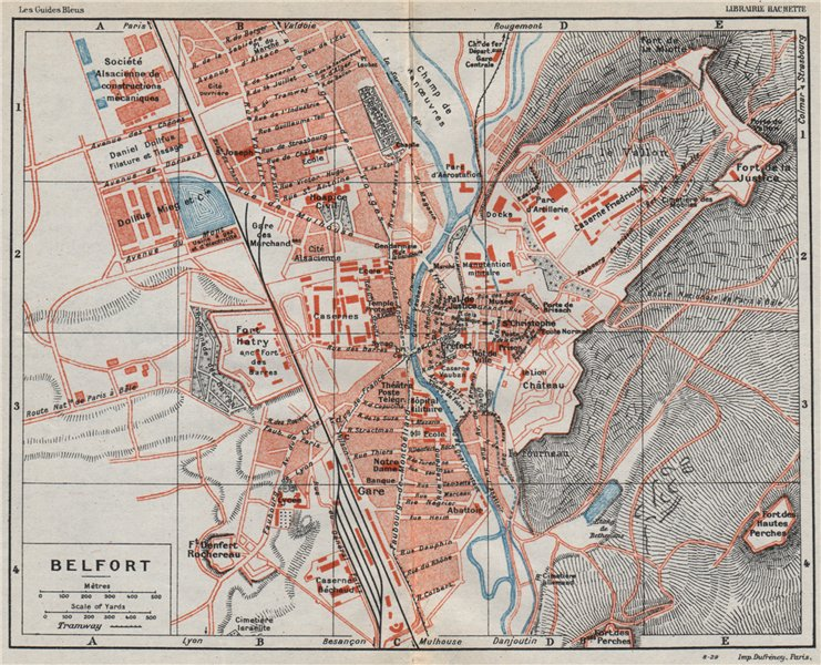 Associate Product BELFORT. Vintage town city ville map plan carte. Territoire de Belfort 1930