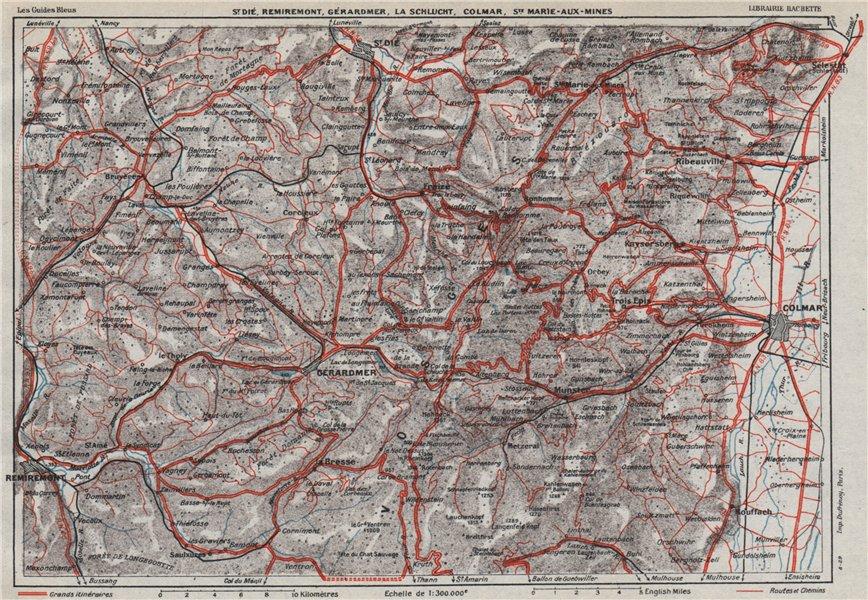 Associate Product VOSGES.St Dié Remiremont Gérardmer La Schlucht Colmar.Haut-Rhin.Alsace 1930 map