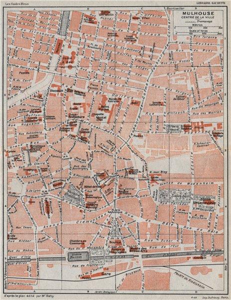 Associate Product MULHOUSE. Centre de la ville. Vintage town city map plan carte. Haut-Rhin 1930