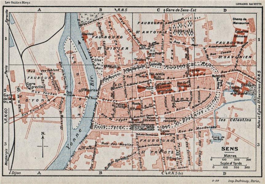 Associate Product SENS. Vintage town city ville map plan carte. Yonne 1930 old vintage chart