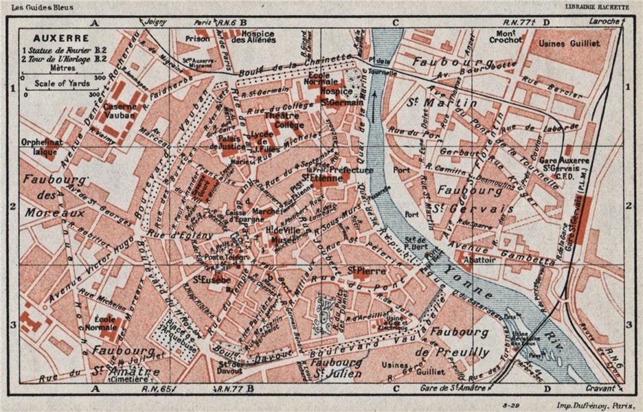 Associate Product AUXERRE. Vintage town city ville map plan carte. Yonne 1930 old vintage