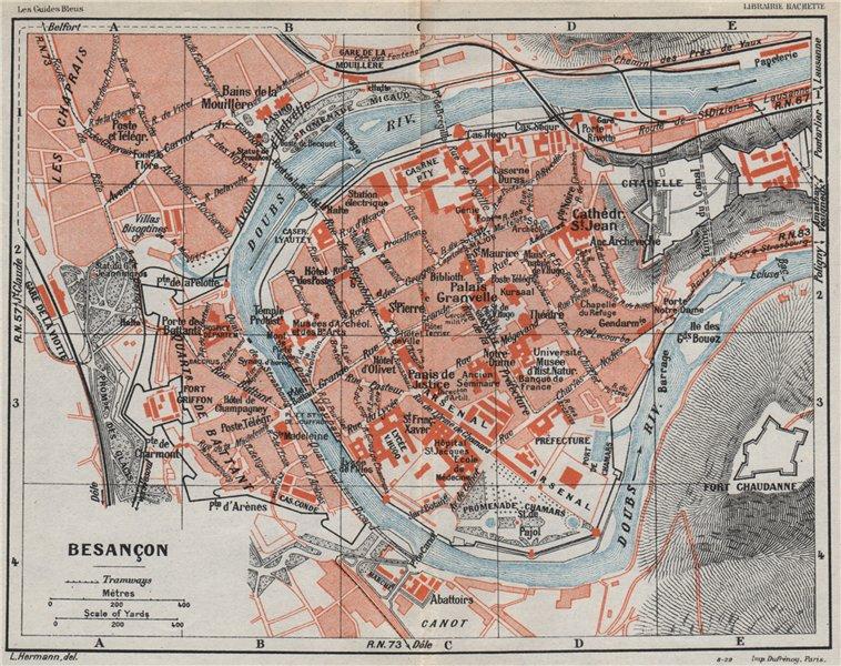 Associate Product BESANÇON BESANCON. Vintage town city ville map plan carte. Doubs 1930 old
