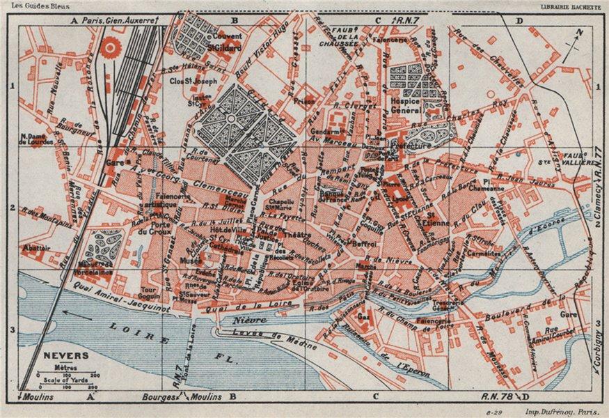 Associate Product NEVERS. Vintage town city ville map plan carte. Nièvre Nievre 1930 old