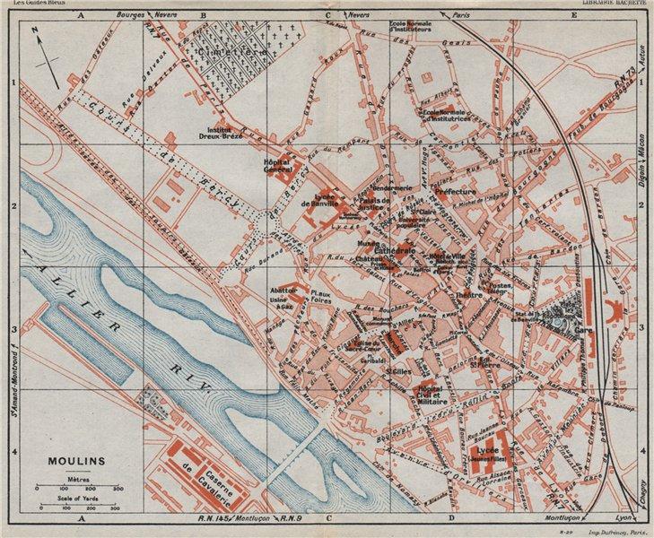 Associate Product MOULINS. Vintage town city ville map plan carte. France 1930 old vintage