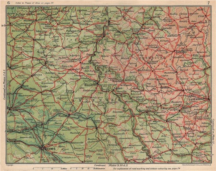Associate Product ARDENNES Marne Luxembourg Laon Namur Verdun Sedan Charleville-Mézières 1930 map