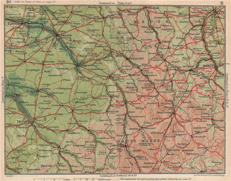 Associate Product CHAMPAGNE LORRAINE. Haute-Marne Aube Meuse metz Chaumont Troyes Chalons 1930 map
