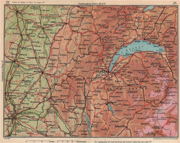 Associate Product GENEVA GENÈVE GENF environs. Lyons Huate-Savoie Jura Ain Vaud 1930 old map