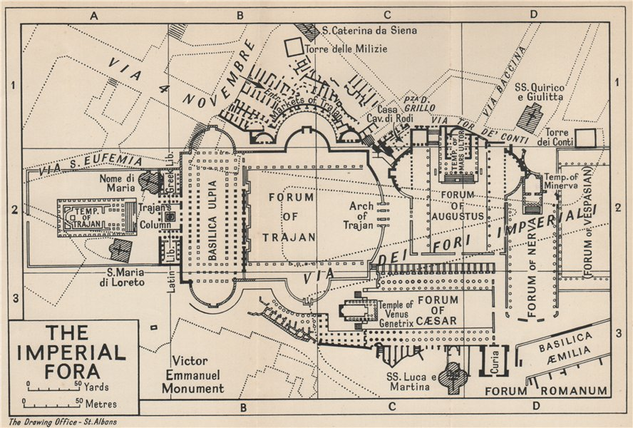 Associate Product THE IMPERIAL FORA, ROME. Fori Imperiali, Roma. Vintage ground plan 1956 map
