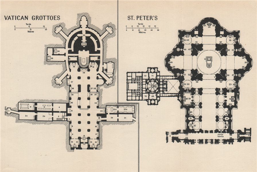 Associate Product VATICAN GROTTOS Papal Tombs. St PETER'S. vintage ground plans Rome Roma 1956 map