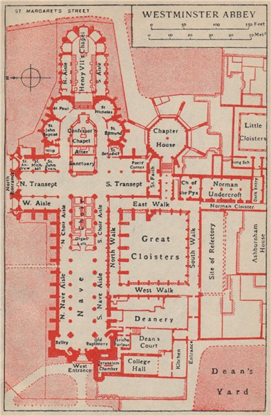 Associate Product WESTMINSTER ABBEY. Vintage ground plan. London 1951 old vintage map chart
