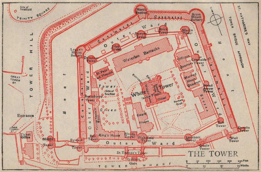 Associate Product TOWER OF LONDON. Vintage ground plan 1951 old vintage map chart
