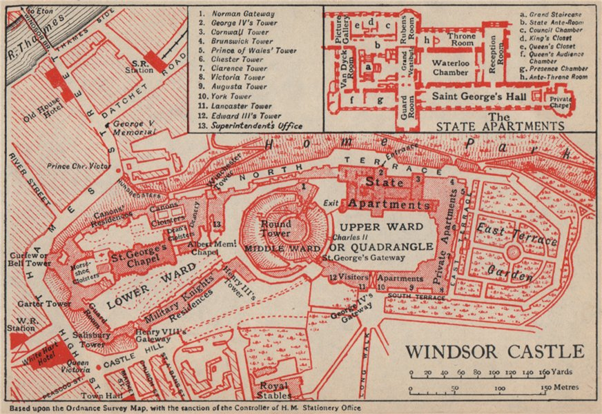 Associate Product WINDSOR CASTLE. Vintage ground plan. Berkshire 1951 old vintage map chart
