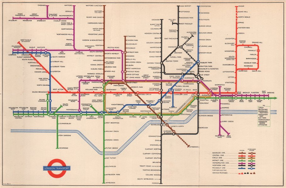 LONDON UNDERGROUND TUBE planned Bakerloo/Northern line extensions. BECK 1950 map