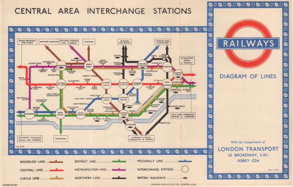 LONDON UNDERGROUND TUBE. Central Area Interchange Stations. HARRY BECK 1950 map