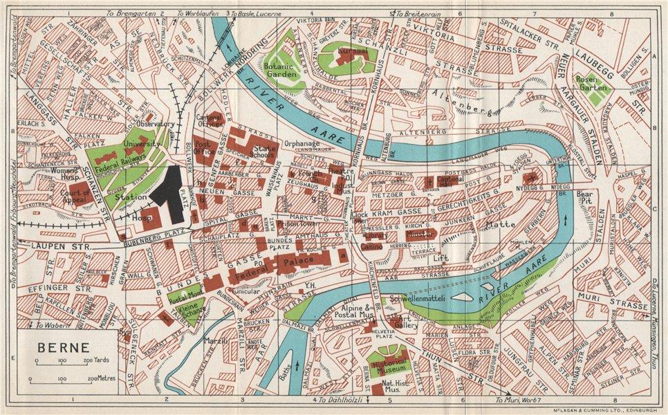 Associate Product BERNE vintage town city map plan. Switzerland 1963 old vintage chart