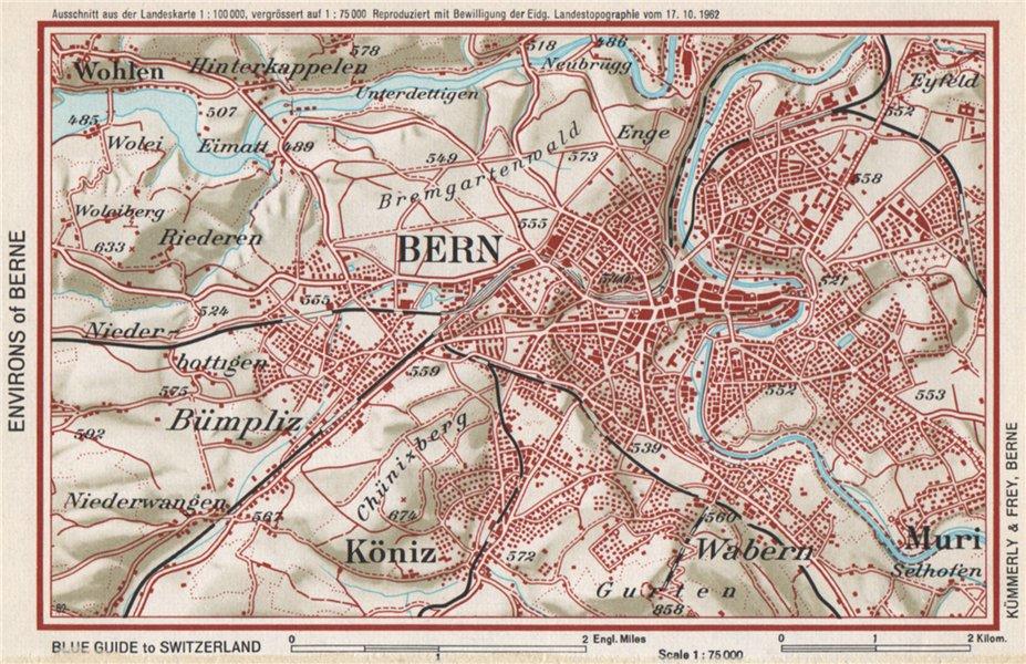 Associate Product BERNE ENVIRONS. Vintage map plan. Switzerland 1963 old vintage chart