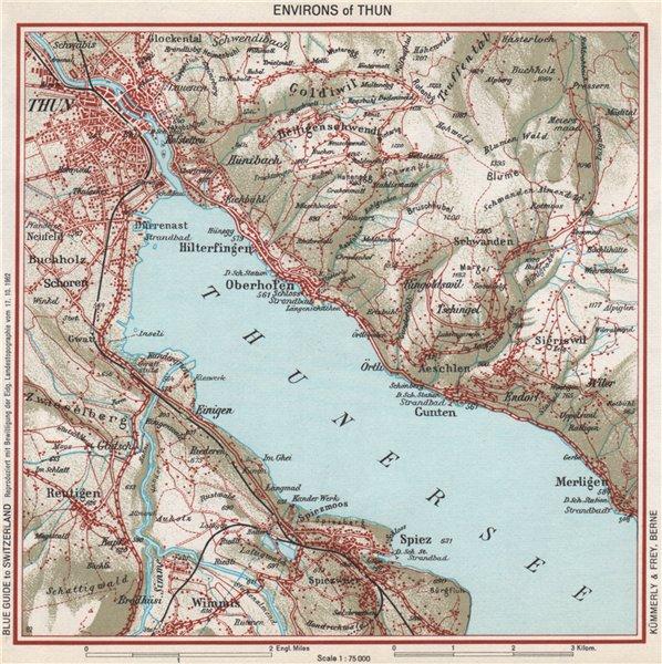 Associate Product THUN environs. Vintage map plan. Thunersee. Switzerland 1963 old vintage
