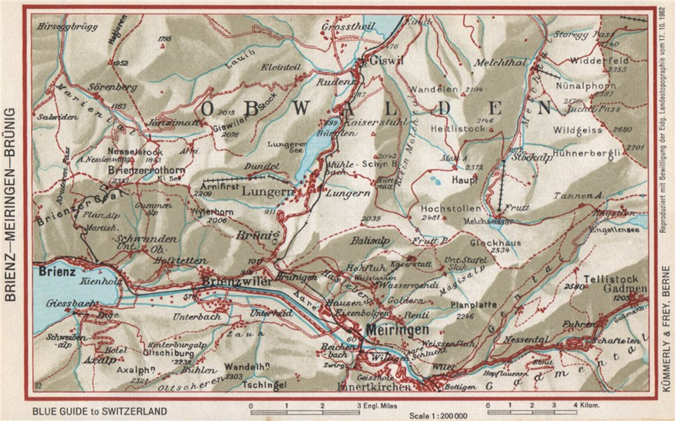 Associate Product BRIENZ AXALP MEIRINGEN BRÜNIG. Lungern Bürglen. Vintage map. Switzerland 1963
