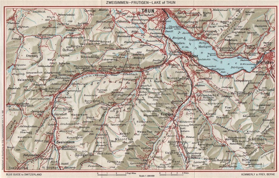 Associate Product ZWEISIMMEN FRUTIGEN THUNERSEE. Interlaken Spiez Kienthal Aeschi 1963 old map