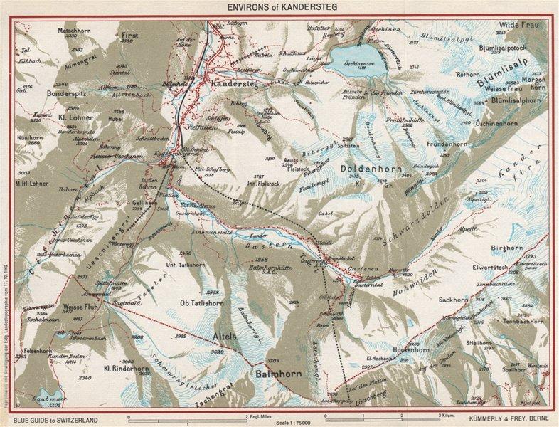 Associate Product KANDERSTEG ENVIRONS. Blümlisalp Berne Doldenhorn. Vintage map. Switzerland 1963