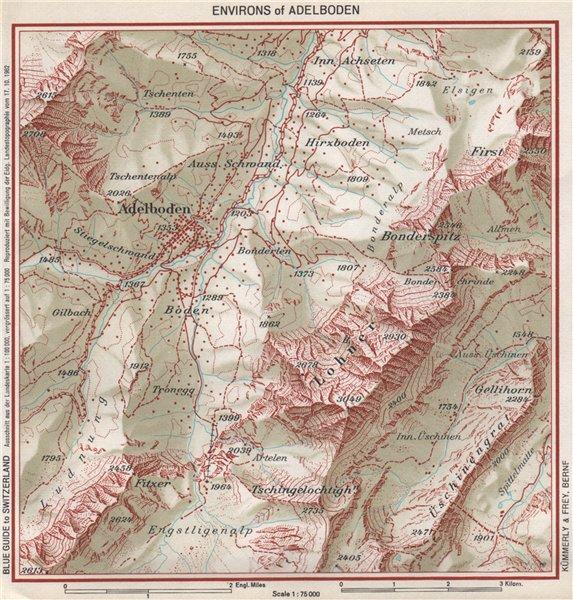 Associate Product ADELBODEN ENVIRONS. Hirzboden. Vintage map plan. Switzerland 1963 old