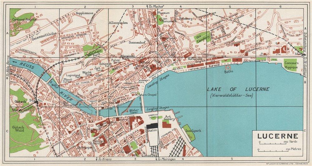 Associate Product LUCERNE LUZERN. Vintage town city map plan. Switzerland 1963 old vintage