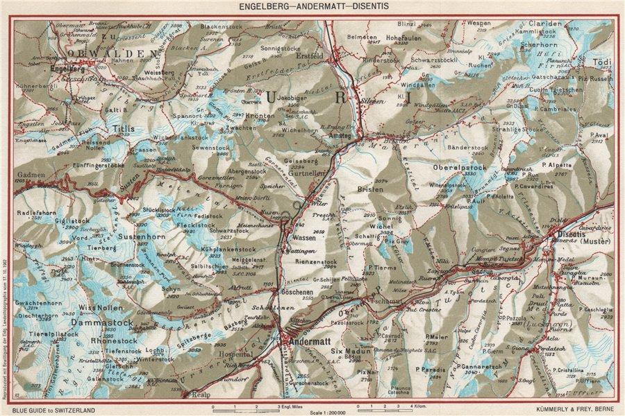 Associate Product ENGELBERG ANDERMATT DISENTIS-SEDRUN. Uri Grisons Berne. Vintage map 1963