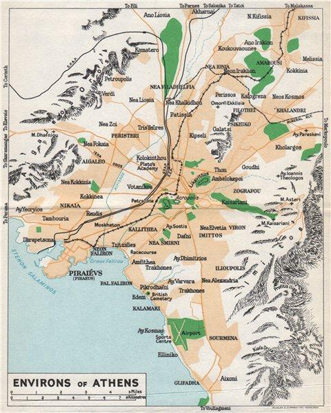 Associate Product ATHENS ENVIRONS vintage map plan. Piraeus. Greece 1962 old vintage chart
