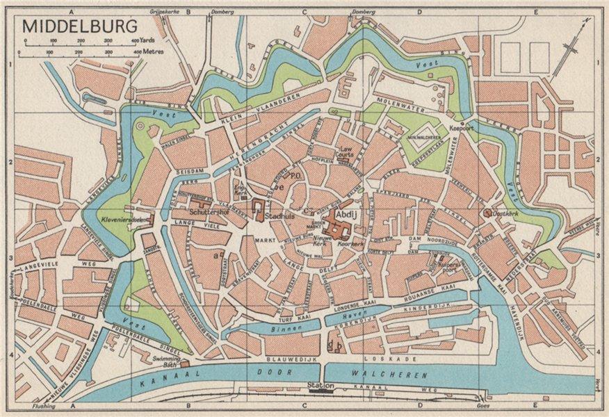 Associate Product MIDDELBURG. Vintage town city map plan. Netherlands 1961 old vintage chart