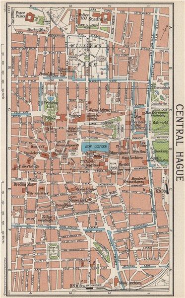Associate Product CENTRAL HAGUE. Vintage town city map plan. Netherlands 1961 old vintage