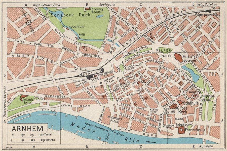 Associate Product ARNHEM. Vintage town city map plan. Netherlands 1961 old vintage chart