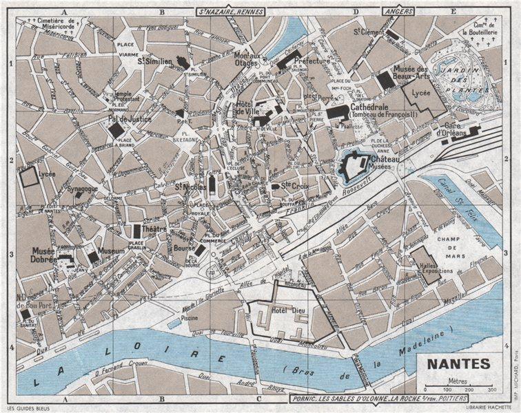 Associate Product NANTES antique town city plan de la ville. Loire-Atlantique 1962 old map