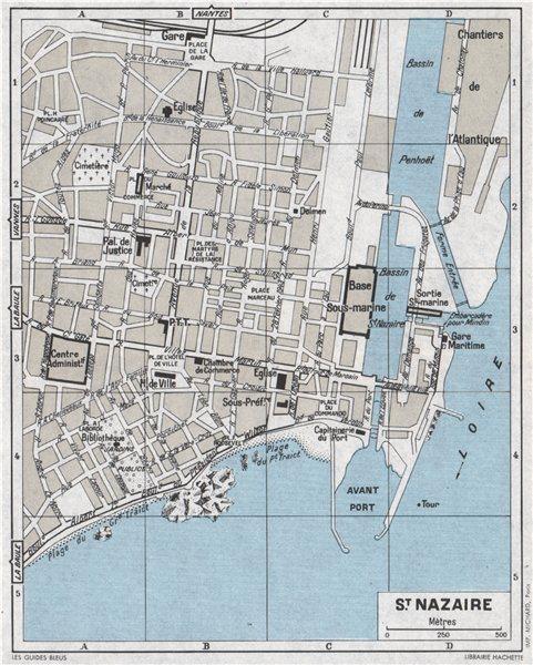 Associate Product ST. NAZAIRE antique town city plan de la ville. Loire-Atlantique 1962 old map