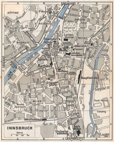 Associate Product INNSBRUCK antique town city Stadtplan. Austria. Österreich 1954 old map