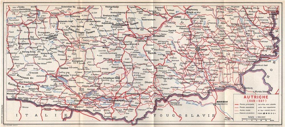 Associate Product South eastern Austria. Autriche (sud est). Styria Carinthia. Österreich 1954 map