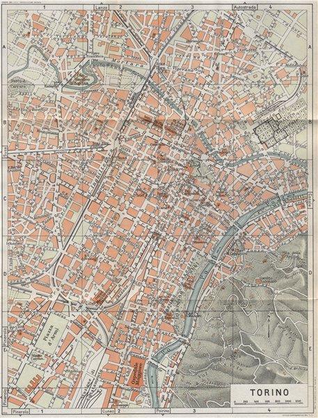 Associate Product TURIN TORINO vintage town city map plan pianta della città. Italy 1958 old