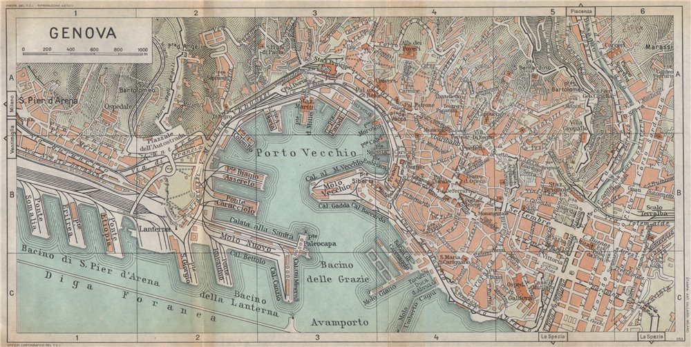 Associate Product GENOA GENOVA vintage town city map plan pianta della città. Italy 1958 old
