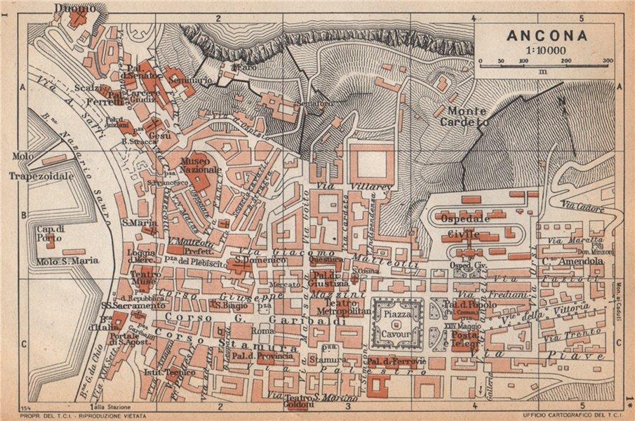 Associate Product ANCONA vintage town city pianta della città. Italy 1958 old vintage map chart