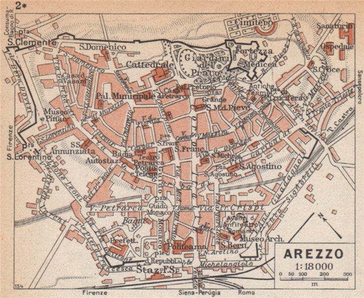Associate Product AREZZO vintage town city pianta della città. Italy 1958 old vintage map chart