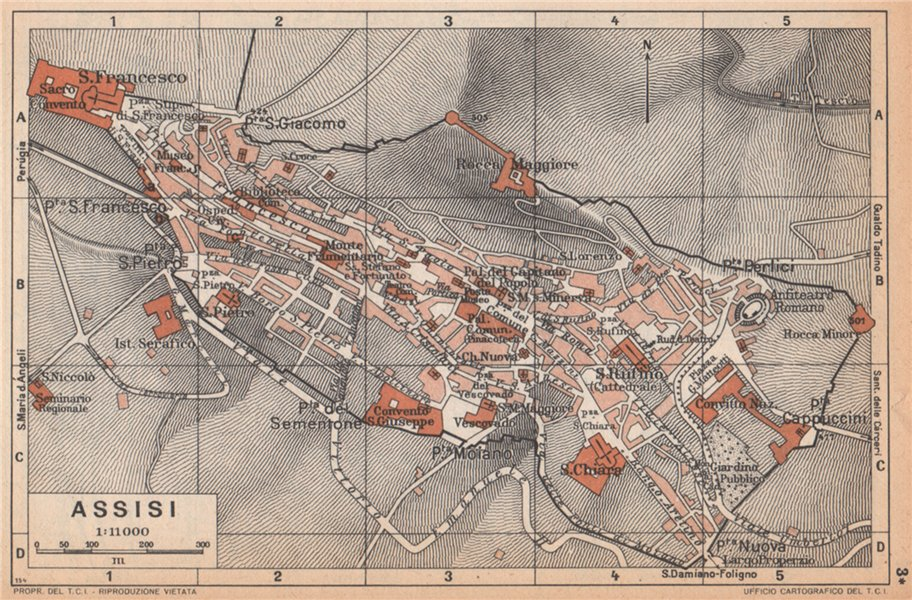 Associate Product ASSISI vintage town city map plan pianta della città. Italy 1958 old