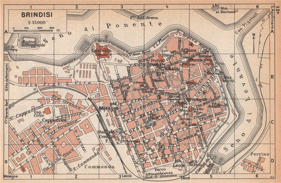 Associate Product BRINDISI vintage town city pianta della città. Italy 1958 old vintage map