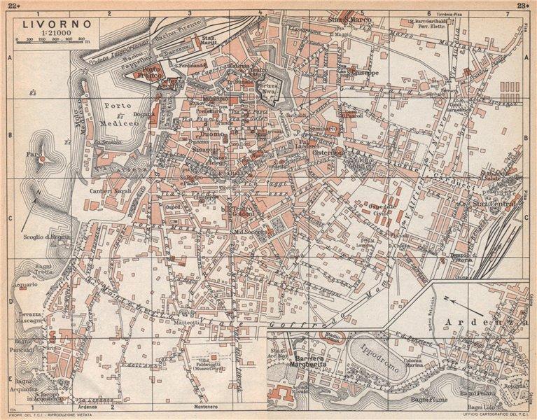 Associate Product LIVORNO vintage town city pianta della città. Italy 1958 old vintage map chart