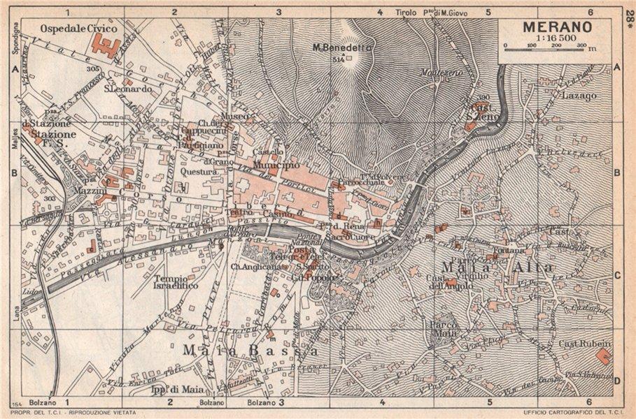 Associate Product MERANO vintage town city map plan pianta della città. Italy 1958 old