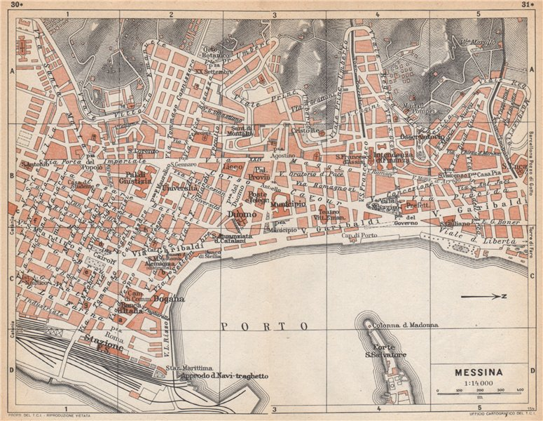 Associate Product MESSINA vintage town city pianta della città. Italy 1958 old vintage map chart