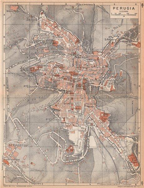 Associate Product PERUGIA vintage town city map plan pianta della città. Italy 1958 old