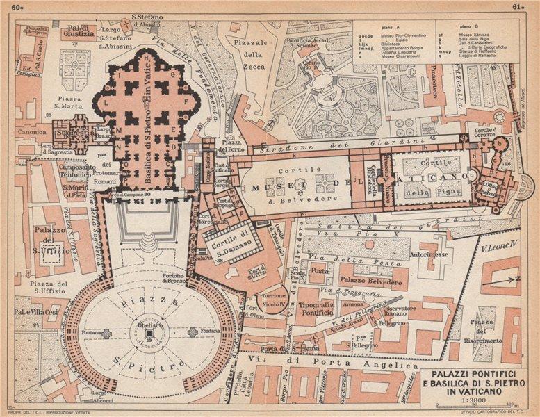 Associate Product VATICANO. Palazzi Pontifici e Basilici de s. Pietro. St Peter's Rome 1958 map