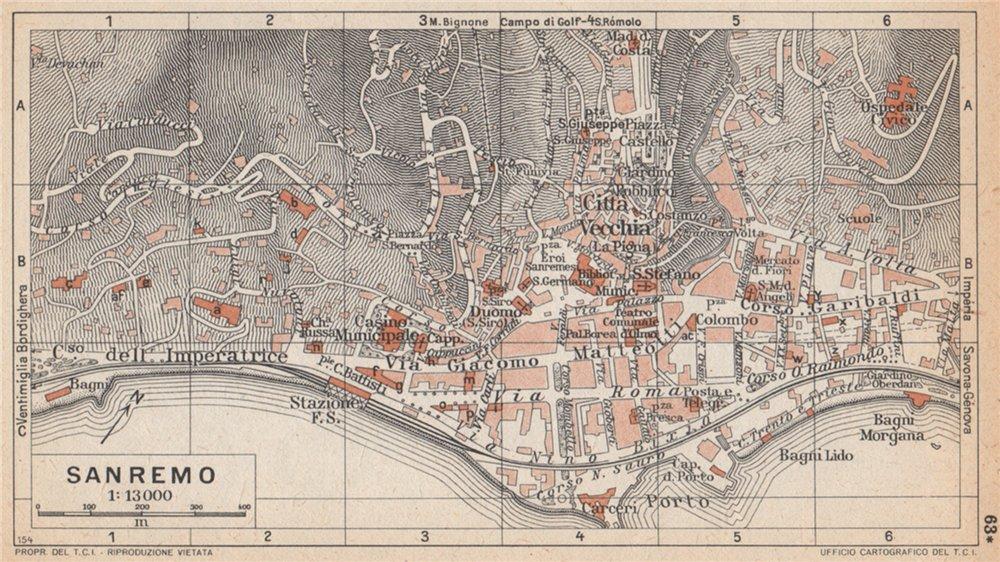 Associate Product SANREMO vintage town city pianta della città. Italy 1958 old vintage map chart