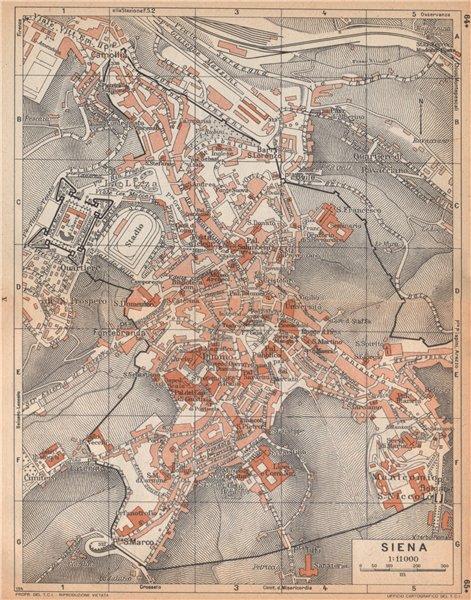 Associate Product SIENA vintage town city map plan pianta della città. Italy 1958 old